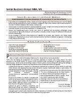 Senior Business Analyst U2013 Resume  Senior Business Analyst Resume